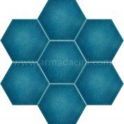 Turkuaz Düz Porselen Altıgen Cini, Kutahya çinisi, Cami çinileri, Türk hamamı, mosque, Banyo otel dekorasyon, fiyatları hexagon tile decoration örnekle