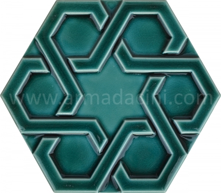 Emerald Relief Porcelain Hexagonal Ceramic Tile, Kütahya ceramics, Turkish bath, mosque, Bathroom hotel decoration, prices hexagon tile decoration sample
