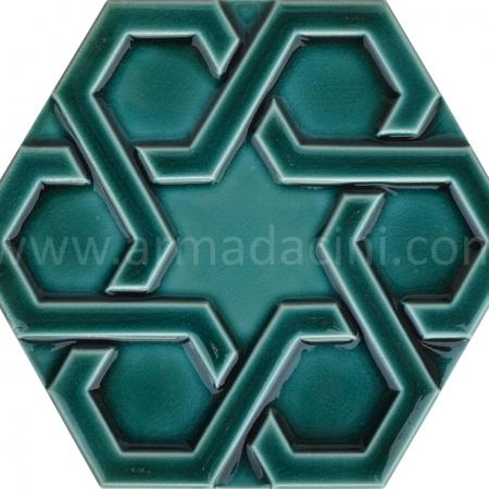 Zumrut Rolyefli Porselen Altıgen Cini, Kutahya çinisi, İznik çinileri, Türk hamamı, mosque, Banyo otel dekorasyon, fiyatları hexagon tile decoration örnek