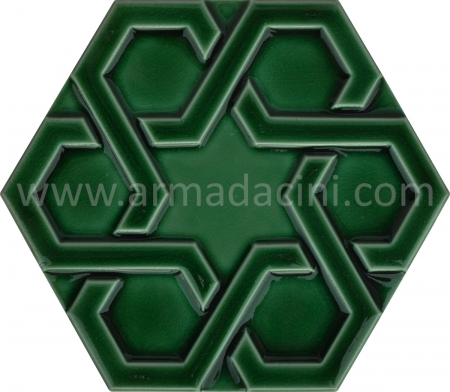 Green Relief Porcelain Hexagonal Ceramic, Kutahya ceramic, Mosque ceramics, Turkish bath, mosque, Bathroom hotel decoration, prices hexagon tile decoration sample