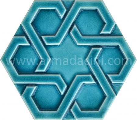 Turquoise Rolyefli Porcelain Hexagon ceramic tile, Kutahya ceramics, Mosque ceramics, Turkish bath, mosque, Bathroom hotel decoration, prices hexagon tile decoration sample