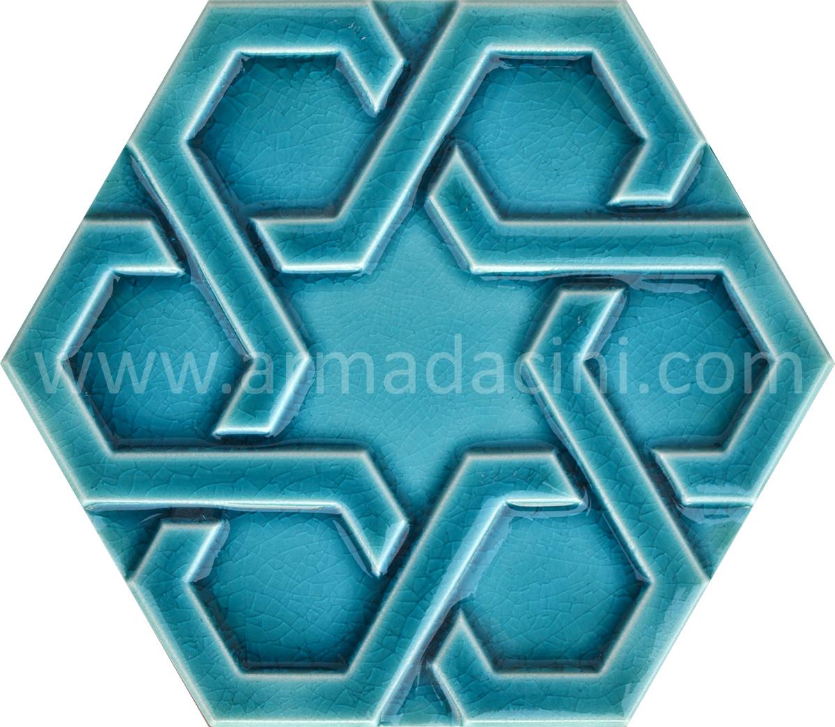 Turkuaz Rolyefli Porselen Altıgen Cini, Kutahya çinisi, Cami çinileri, Türk hamamı, mosque, Banyo otel dekorasyon, fiyatları hexagon tile decoration örnek