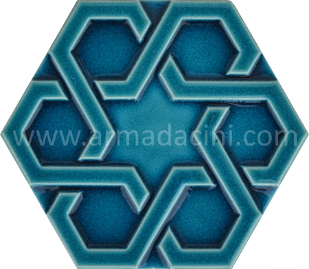 Firuze Relief Porcelain Hexagonal Ceramic Tile, Mosque ceramic tiles, Turkish bath, mosque, Bathroom hotel decoration, prices hexagon tile decoration examples