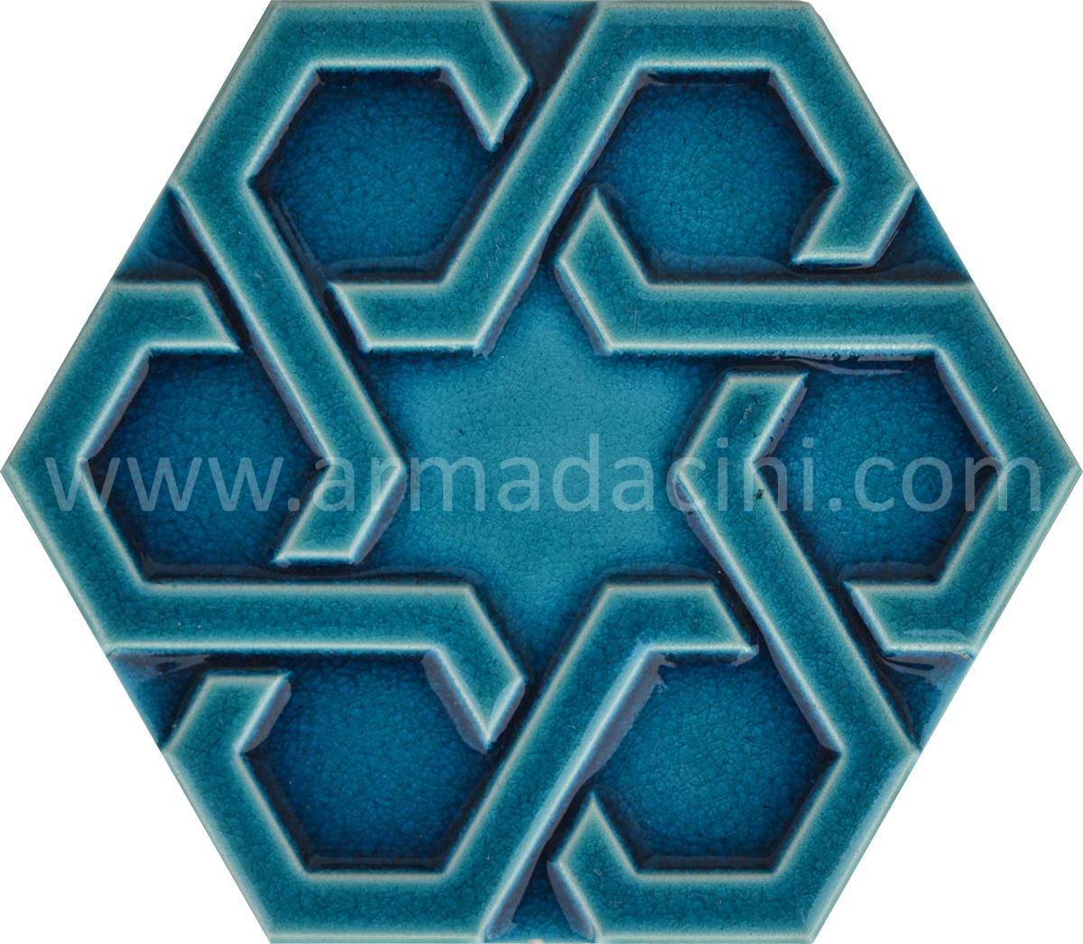 Firuze Rolyefli Porselen Altıgen Cini, Kutahya çinisi, Cami çinileri, Türk hamamı, mosque, Banyo otel dekorasyon, fiyatları hexagon tile decoration örnekler