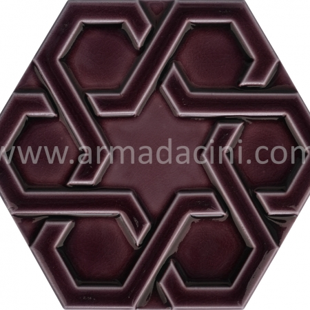 Manganese Relief Porcelain Hexagonal Ceramic Tile, Mosque tiles, Turkish bath, mosque, Bathroom hotel decoration, prices hexagon tile decoration examples