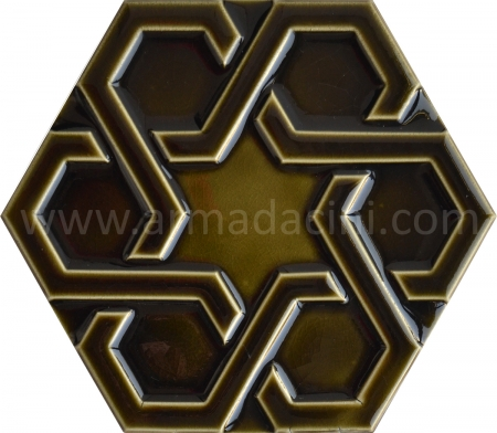 Olive Relief Porcelain Hexagonal Ceramic, Mosque tiles, Turkish bath, mosque, Bathroom hotel decoration, prices hexagon tile decoration examples