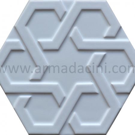 Beyaz Rolyefli Porselen Altıgen Cini, Kutahya çinisi, Cami çinileri, Türk hamamı, mosque, Banyo otel dekorasyon, fiyatları hexagon tile decoration örnek
