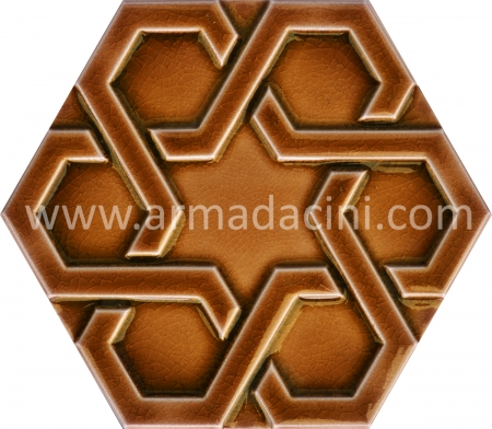 Caramel Relief Porcelain Hexagon Ceramic Tile, Kutahya ceramics, Mosque ceramics, Turkish bath, mosque, Bathroom hotel decoration, prices hexagon tile decoration sample