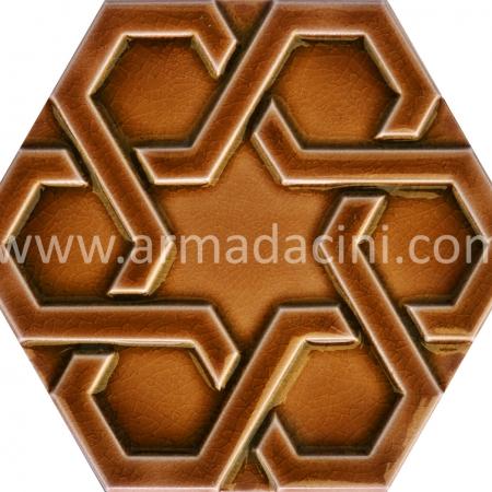 Karamel Rolyefli Porselen Altıgen Cini, Kutahya çinisi, Cami çinileri, Türk hamamı, mosque, Banyo otel dekorasyon, fiyatları hexagon tile decoration örnek