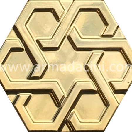 Gold Plated Relief Porcelain Hexagonal Tile, Kutahya ceramics, Turkish Ceramics, Turkish bath, mosque, Bathroom hotel decoration, prices hexagon tile decoration sample