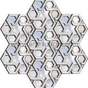 Gumus Rolyefli Porselen Altıgen Cini, Kutahya çinisi, Cami çinileri, Türk hamamı, mosque, Banyo otel dekorasyon, fiyatları hexagon tile decoration örnek