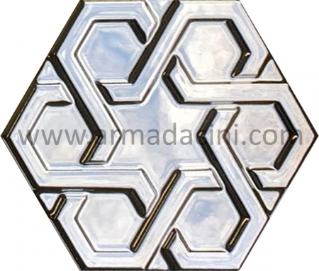 Silver Plated Relief Porcelain Hexagon Ceramic Tile, Kütahya ceramic tile, Mosque ceramics, Turkish bath, mosque, Bathroom hotel decoration, prices hexagon tile decoration sample