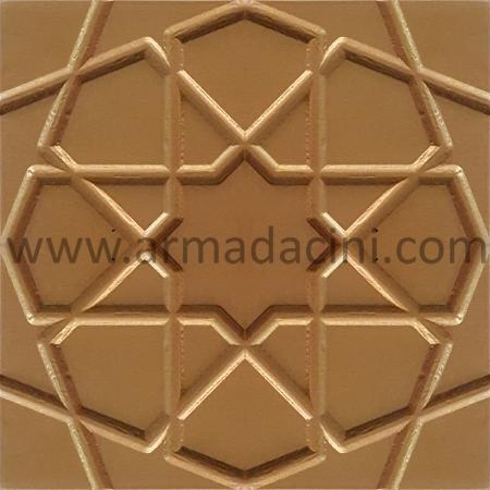 20x20 Mat Altın Yaldız Rölyefli Selçuk Yıldızı Çini Karo