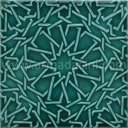 25x25 PR-350 Zumrut Rolyeflı Porselen Cını Karo, Kütahya porselen seramik iznik çini banyo mutfak tezgah otel türk hamamı dekorasyon örnekleri, fiyatları