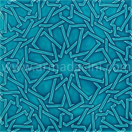 25x25 PR-360 Turkuaz Rolyeflı Porselen Cını Karo, Kütahya porselen seramik iznik çini banyo mutfak tezgah otel türk hamamı dekorasyon örnekleri, fiyatları