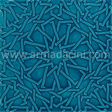 25x25 PR-365 Fıruze Rolyeflı Porselen Cını Karo Kütahya porselen seramik iznik çini banyo mutfak tezgah otel türk hamamı dekorasyon örnekleri, fiyatları