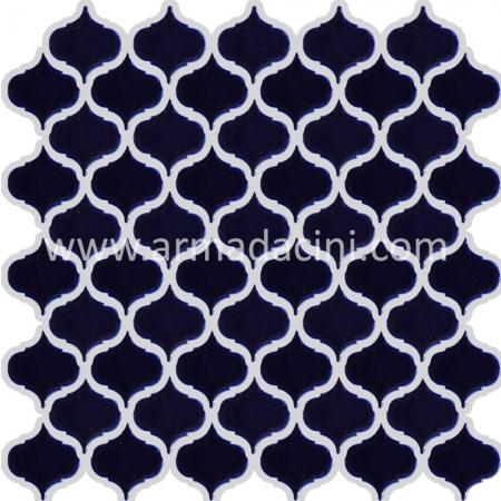 PC-806 Kobalt Arabesk Porselen Fileli Mozaik Cini Kütahya porselen Kutahya seramik iznik çini sırlı mat banyo mutfak tezgah arası havuz otel türk hamamı kolon kaplama modelleri dekorasyon örnekleri, interior mosaic tiles porcelain tile mosque hotel ceramic decoration fiyatları