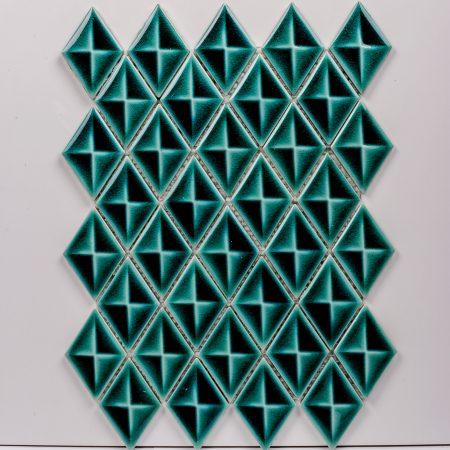 PC-823 Zümrüt Baklava Porselen Fileli Mozaik Cini Kütahya porselen Kutahya seramik iznik çini sırlı mat banyo mutfak tezgah arası havuz otel türk hamamı kolon kaplama modelleri dekorasyon örnekleri, interior mosaic tiles porcelain tile mosque hotel ceramic decoration fiyatları