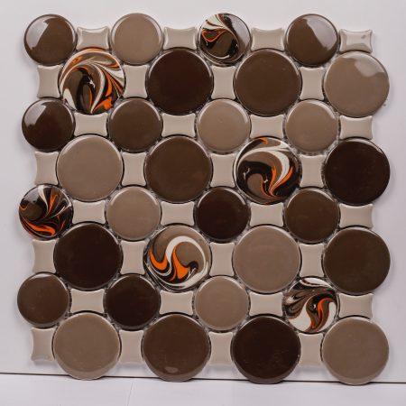PC-838 Kahverengi Ebrulu Yuvarlak Porselen Fileli Mozaik Cini Kütahya porselen Kutahya seramik iznik çini sırlı mat banyo mutfak tezgah arası havuz otel türk hamamı kolon kaplama modelleri dekorasyon örnekleri, interior mosaic tiles porcelain tile mosque hotel ceramic decoration fiyatları