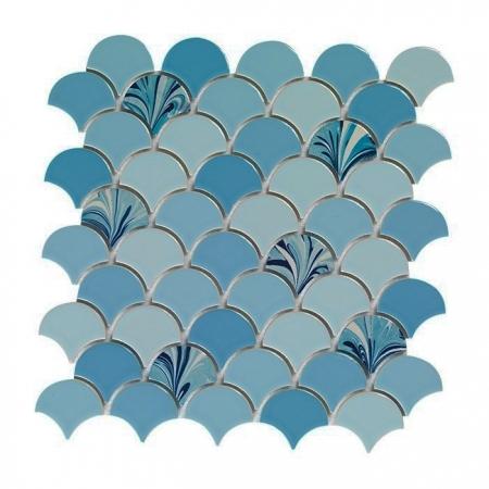 PSE-864 Mavi Ebrulu Balık pulu Fileli Porselen Mozaik Kütahya porselen Kutahya seramik iznik çini sırlı mat banyo mutfak tezgah arası havuz otel türk hamamı kolon kaplama modelleri dekorasyon örnekleri, interior mosaic tiles porcelain tile mosque hotel ceramic decoration fiyatları