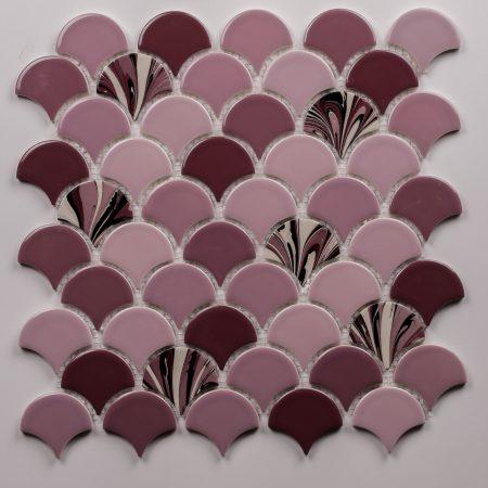 PSE-866 Gul Kurusu Ebrulu Balık pulu Fileli Porselen Mozaik