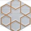 17x20 Rölyefli Altıgen Yaldızlı Çini Karo (Altın Yaldızlı)