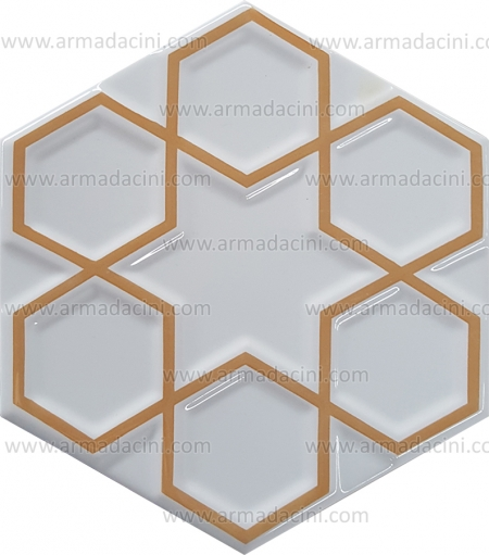 15x17 Relief Hexagonal Gilded Ceramic Tile small middle large gilded painted hexagonal ceramic star patterned 6 six 8 octagonal Turkmen Ottoman Seljuk Turkish star patterned patterns Kütahya İznik tile tile ceramic Turkish bath kurna behind top kitchen countertop forehead 3 d 3D hexagon