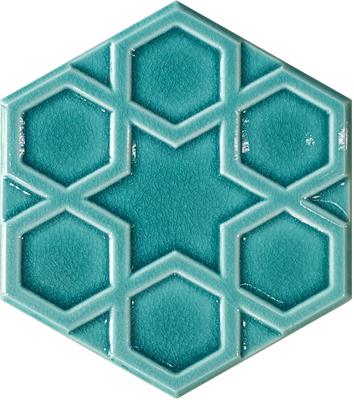 15x17 cm AL 71 Turkuaz Selçuklu Yıldızı Altıgen Çini Karo Türk hamamı banyo mutfak dekorasyonu fiyatları ve çeşitleri örnekleri Hexagon