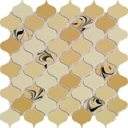 PSE-855 Bej Arabesk Ebrulu Fileli Porselen Mozaik Kütahya porselen Kutahya seramik iznik çini sırlı mat banyo mutfak tezgah arası havuz otel türk hamamı kolon kaplama modelleri dekorasyon örnekleri, interior mosaic tiles porcelain tile mosque hotel ceramic decoration fiyatları