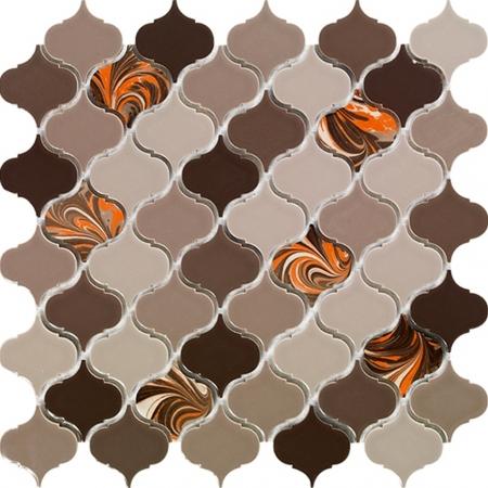 PSE-856 Kahverengi Arabesk Ebrulu Fileli Porselen Mozaik Kütahya porselen Kutahya seramik iznik çini sırlı mat banyo mutfak tezgah arası havuz otel türk hamamı kolon kaplama modelleri dekorasyon örnekleri, interior mosaic tiles porcelain tile mosque hotel ceramic decoration fiyatları