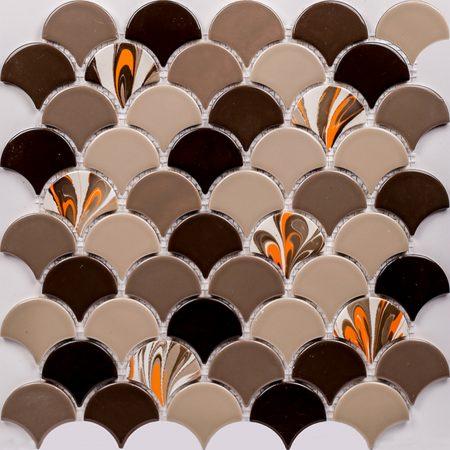 PSE-865 Kahve Ebrulu Balık pulu Fileli Porselen Mozaik