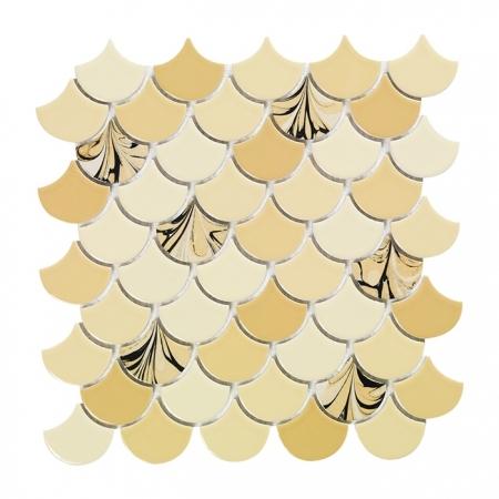 PSE-867 Bej Ebrulu Balık pulu Fileli Porselen Mozaik Kütahya porselen Kutahya seramik iznik çini sırlı mat banyo mutfak tezgah arası havuz otel türk hamamı kolon kaplama modelleri dekorasyon örnekleri, interior mosaic tiles porcelain tile mosque hotel ceramic decoration fiyatları
