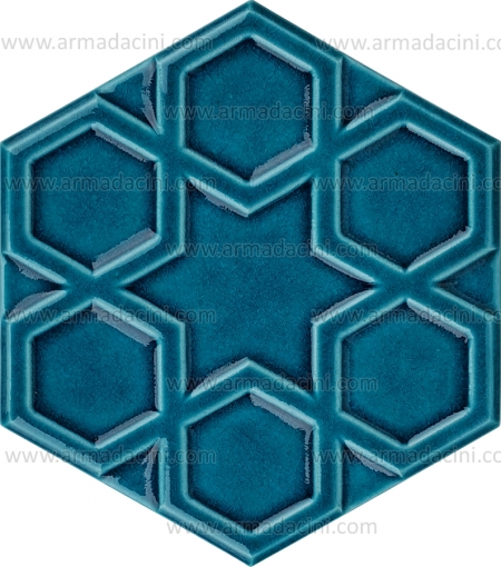 17x20 Relief Hexagonal Gilded Ceramic Tile small middle large gilded painted hexagonal ceramic star patterned 6 six 8 octagonal Turkmen Ottoman Seljuk Turkish star patterned patterns Kütahya İznik tile ceramic Turkish bath kurna behind kitchen countertop 3n 3D hexagon