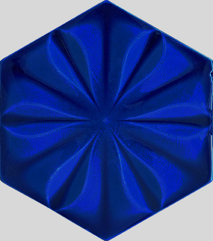 15x17 Kobalt Çiçekli Altıgen Seramik Çini Karo