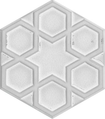 15x17 cm AL 73 Beyaz Selçuklu Yıldızı Altıgen Çini Karo