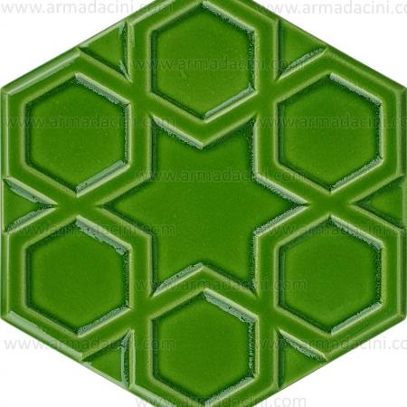 15x17 Rölyefli Altıgen Fıstık Yeşili Çini Karo