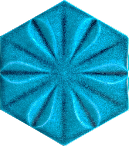 Turquoise Floral Hexagonal Ceramic Tile, Kutahya ceramic, Mosque ceramics, Turkish bath, mosque, Bathroom hotel decoration, prices of hexagon tile decoration examples
