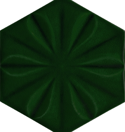 15x17 Zümrüt Yeşil Çiçekli Altıgen Seramik Çini Karo