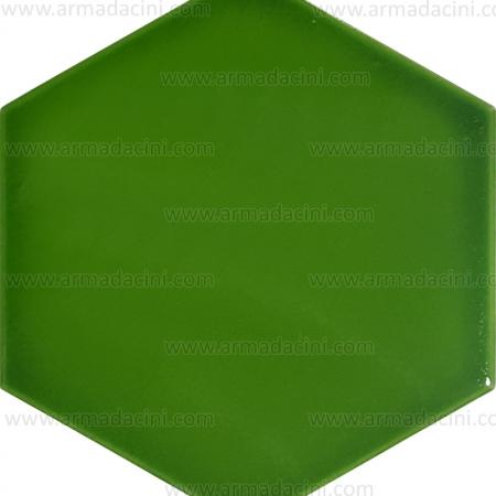 15x17 Düz Fıstık Yeşili Altıgen Renkli Çini Karo