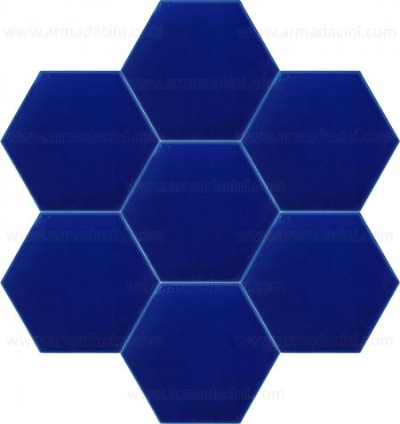 15x17 Düz Kobalt Altıgen Renkli Çini Karo