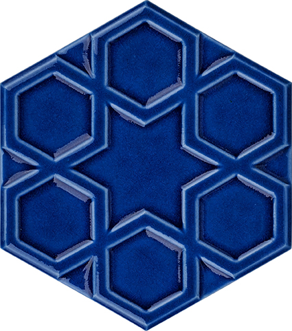 Cobalt dark navy blue dark blue colored hexagonal shaped embossed pattern relief selcuklu star ceramic tile turkish bath china school mosque masjid masjid for Relief hexagonal cobalt ceramic tile
