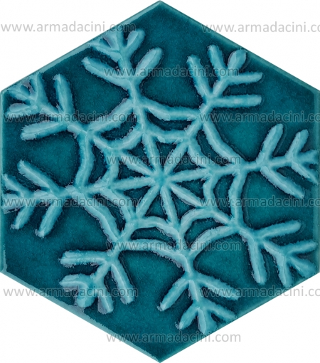 Relief Snowflake Patterned Hexagonal Turquoise Color Ceramic Tile in various forms embossed tile ceramic patterns patterns designs hotel hotel spa thermal cafe cafe design models designs ceramics