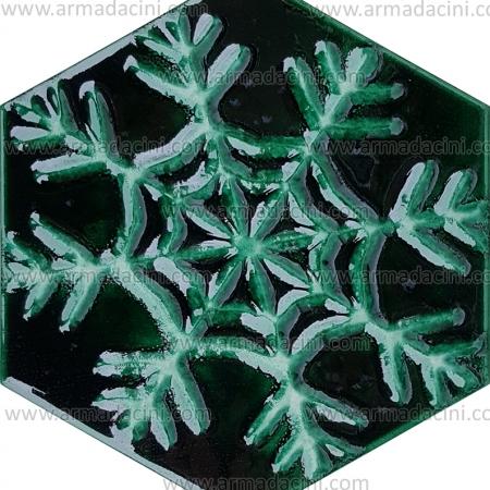 15x17 Rölyefli Kar Tanesi Desenli Altıgen Yeşil Renkli Çini Karo