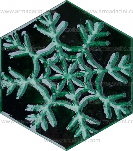Relief Snowflake Patterned Hexagon Green Colored Ceramic Tile made of snowflake shaped hexagon shaped tile ceramic tiles modern chic looking ceramics catalog catalog 2018 new model ceramic tile