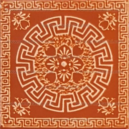 Turuncu Renkli Geometrik Zincir Desenli Rölyefli Çini Karo Kabartmalı Seramik Mutfak Duvar yer Çinisi Seramiği Tezgah alnı arası Türk hamamı Kurna Arkası veya Üstü Çini Pano olarak Duşa kabin içi pano olarak kullanılabilir kullanabilirsiniz