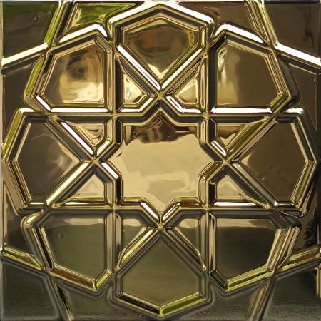 20x20 Parlak Altın Yaldız Rölyefli Selçuk Yıldızı Çini Karo