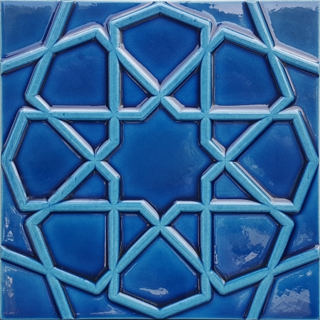20x20 Kobalt Rölyefli Selçuk Yıldızı Çini Karo