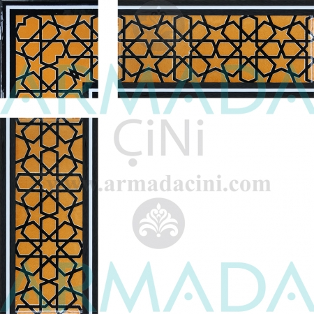 10x20 KS-72 Patterned İznik Tile Border Model (Star perforated) Geometric Shape İznik Kütahya Tile Border Models Model Star Patterned Star Crossing