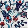 20x20 SP-105 Desenli İznik Çini Karo Modeli (Lale Desenli) Türk Hamamı Banyo Otel Cafe Çinisi Çinileri Cami Çinileri El Yapımı Pano El İşlemesi El Boyaması