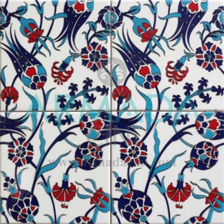 20x20 SP-105 Patterned İznik Tile Tile Model (Tulip Patterned) Turkish Bath Bathroom Hotel Cafe Tile Tiles Mosque Tiles Handmade Panel Hand Made Hand Paint